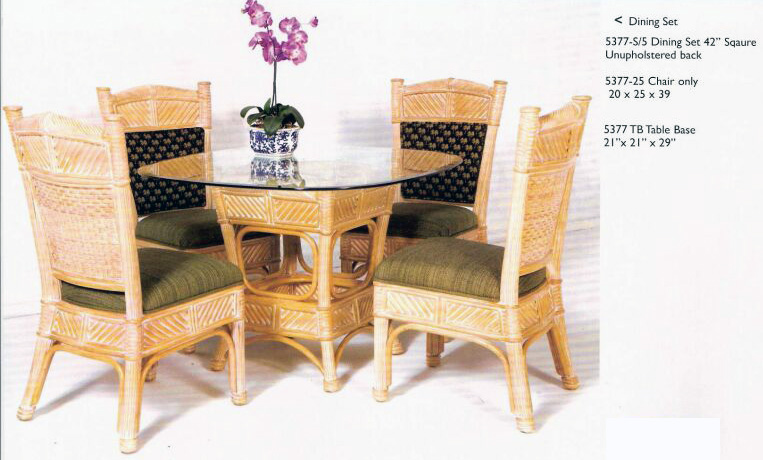 Glass Table 42in Dining Set Rattan For Kauai